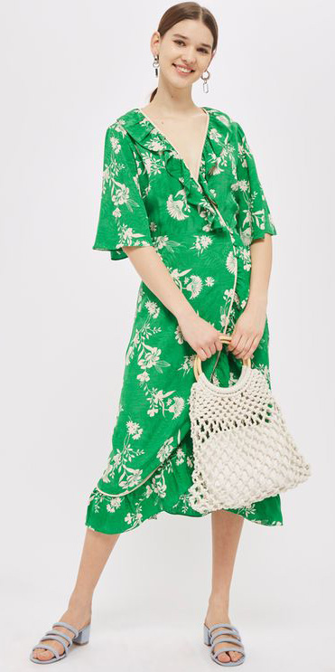 23dfe8608f green-emerald-dress-wrap-floral-print-white-bag-