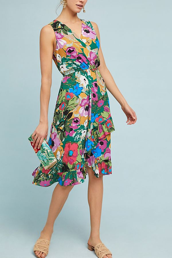 9176cc753c green-emerald-dress-wrap-floral-print-tan-shoe-