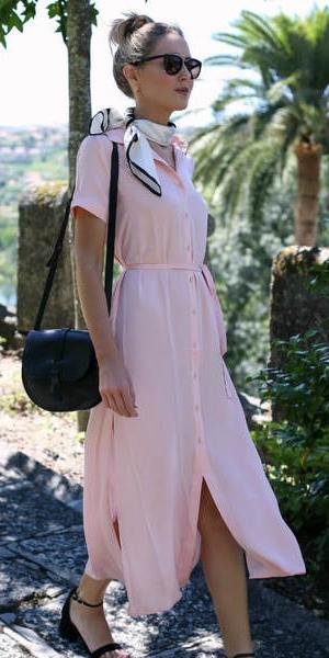 4627c4efc0a5 pink-light-dress-shirt-white-scarf-neck-bun-