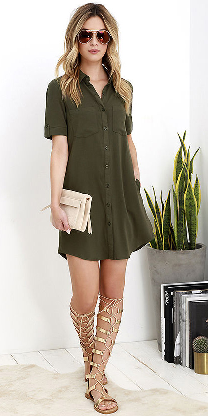 04b929326b3f green-olive-dress-shirt-tan-shoe-sandals-gladiators-