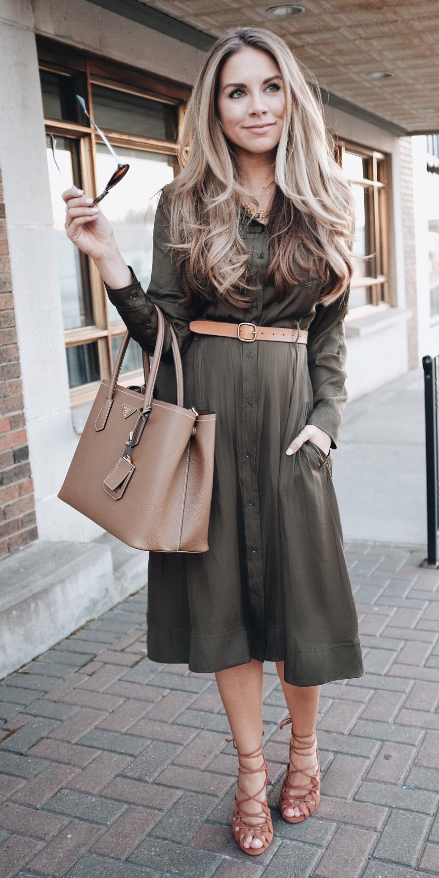 2dfbf1a9695 green-olive-dress-shirt-belt-blonde-tan-bag-