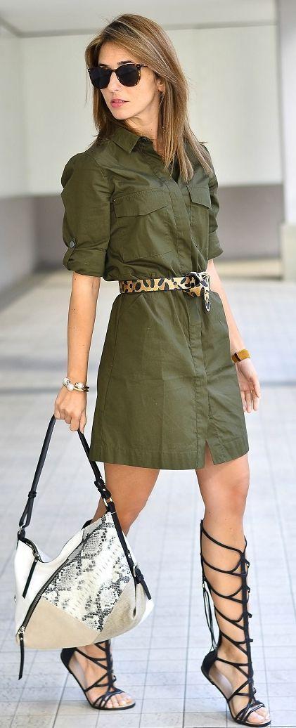 b169a7ce55 green-olive-dress-wide-belt-shirt-black-shoe-