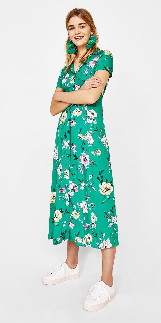 843a799085 green-emerald-dress-shirt-midi-print-floral-blonde-