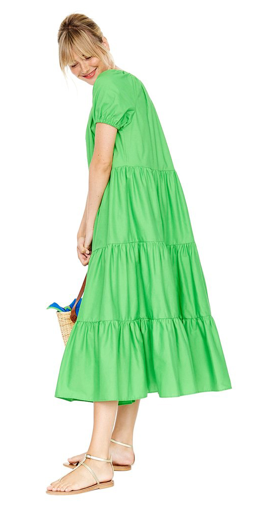 c4e07a30777 green-emerald-dress-midi-peasant-blonde-bun-tan-