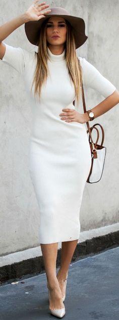 157cf105eccd white-dress-midi-sweater-tan-shoe-pumps-white-