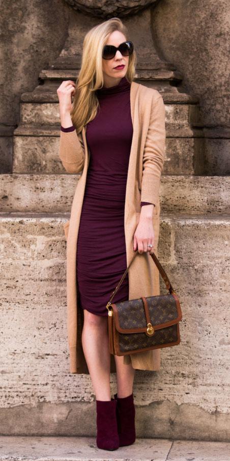 1f00ab33d2b3 burgundy-dress-bodycon-burgundy-shoe-booties-brown-bag-