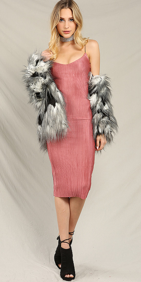 pink-light-dress-slip-bodycon-choker-black-shoe-sandalh-grayl-jacket-coat-fur-fuzz-fall-winter-blonde-dinner.jpg