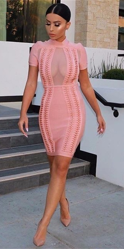 pink-light-dress-bodycon-sheer-bun-tan-shoe-pumps-spring-summer-brun-dinner.jpeg