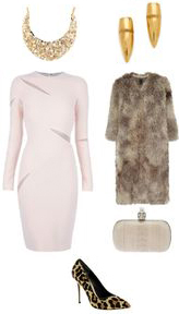 r-pink-light-dress-bodycon-tan-jacket-coat-fur-fuzz-pink-bag-clutch-tan-shoe-pumps-leopard-studs-bib-necklace-howtowear-fashion-style-outfit-fall-winter-holiday-dinner.jpg