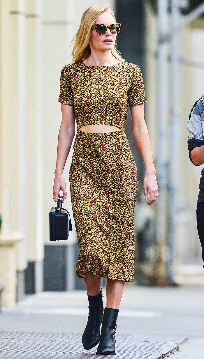 yellow-dress-zprint-black-bag-hand-sun-katebosworth-midi-bodycon-wear-outfit-spring-summer-black-shoe-booties-celebritystreetstyle-blonde-lunch.jpg
