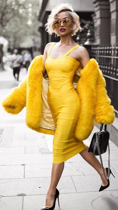 yellow-dress-bodycon-sun-black-shoe-pumps-black-bag-yellow-jacket-coat-fur-fuzz-fall-winter-blonde-dinner.jpg
