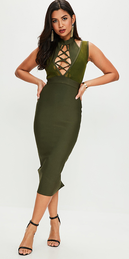 887c471afcc6 green-olive-dress-bodycon-cutout-earrings-black-shoe-