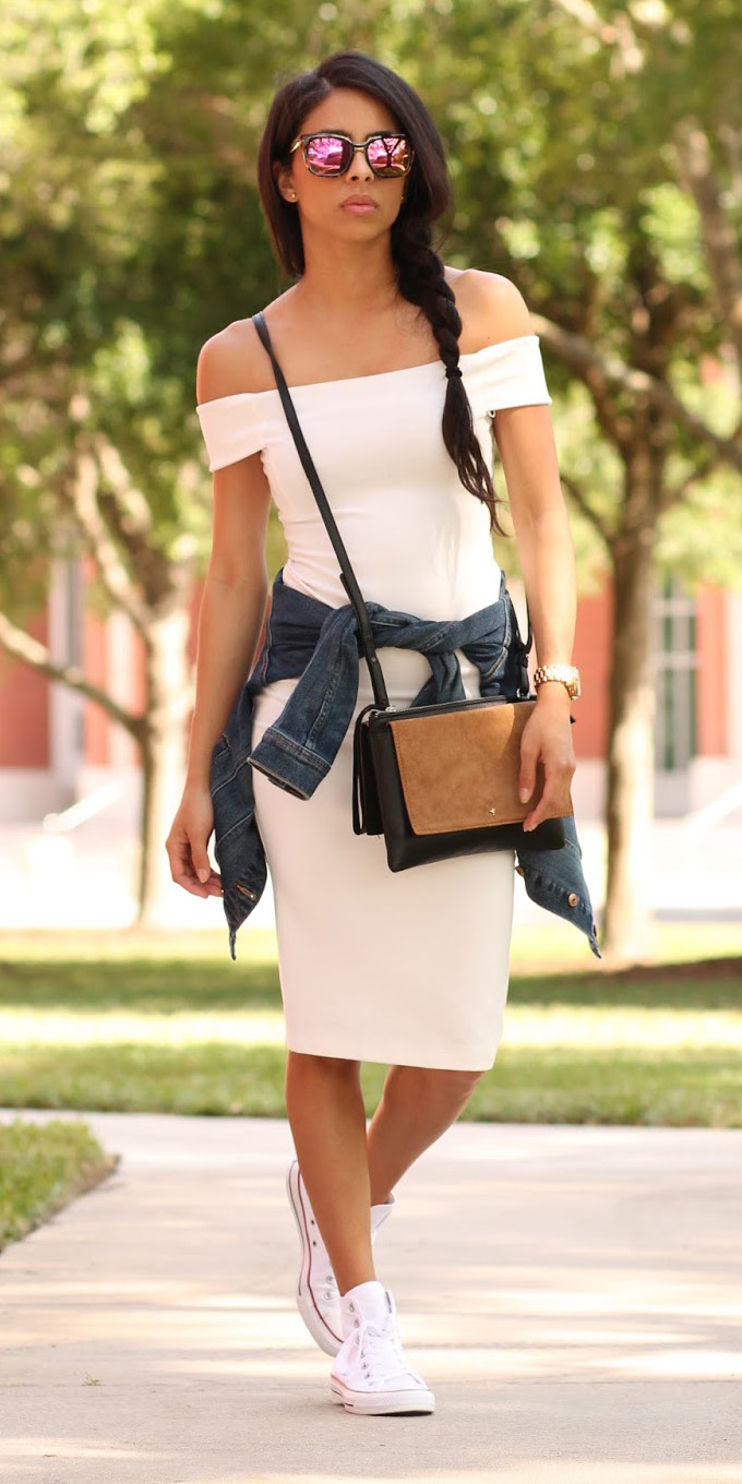 white-dress-bodycon-blue-navy-jacket-jean-tan-bag-white-shoe-sneakers-brun-sun-braid-spring-summer-weekend.JPG