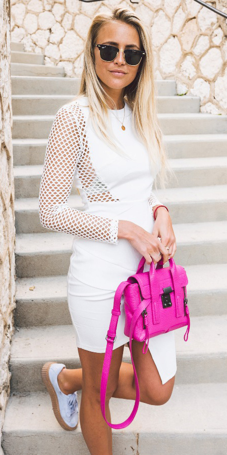 white-dress-bodycon-white-shoe-sneakers-pink-bag-bright-sheer-mesh-spring-summer-blonde-lunch.jpg