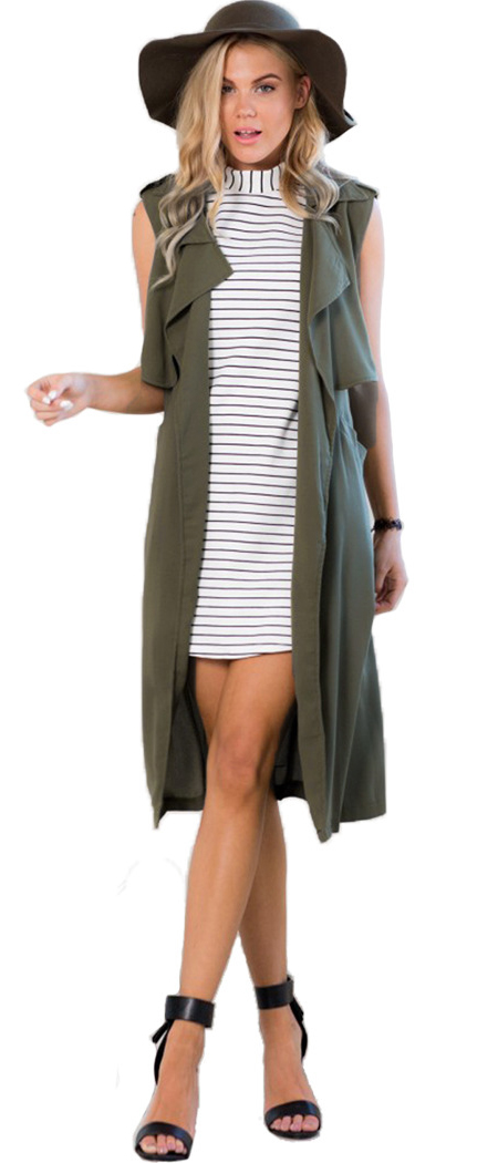 white-dress-mini-bodycon-green-olive-vest-utility-trench-hat-blonde-black-shoe-sandalh-spring-summer-lunch.jpg
