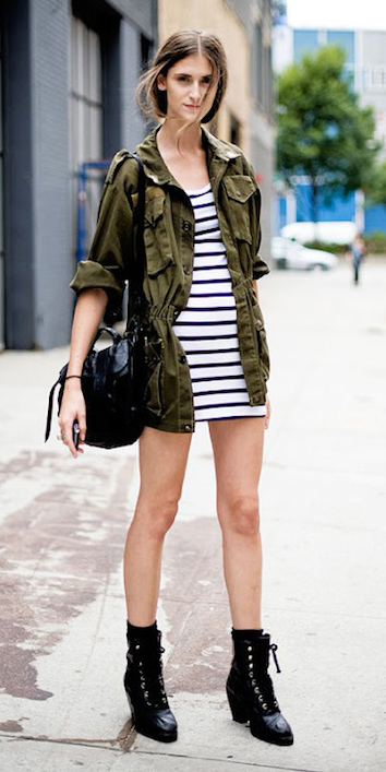 white-dress-bodycon-stripe-green-olive-jacket-utility-hairr-black-bag-black-shoe-booties-fall-winter-weekend.jpg