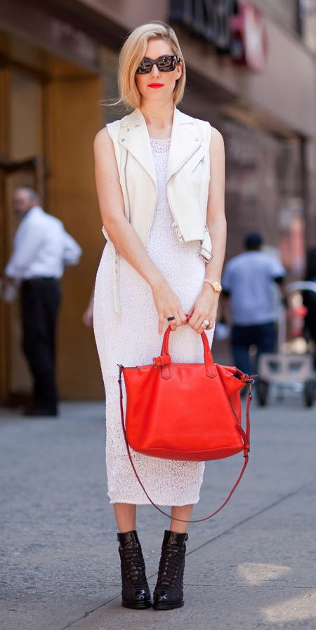 white-dress-midi-red-bag-white-vest-moto-blonde-sun-black-shoe-booties-bodycon-spring-summer-lunch.jpg