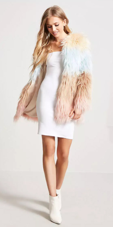 white-dress-bodycon-white-shoe-booties-tan-jacket-coat-fur-fuzz-fall-winter-blonde-dinner.jpg
