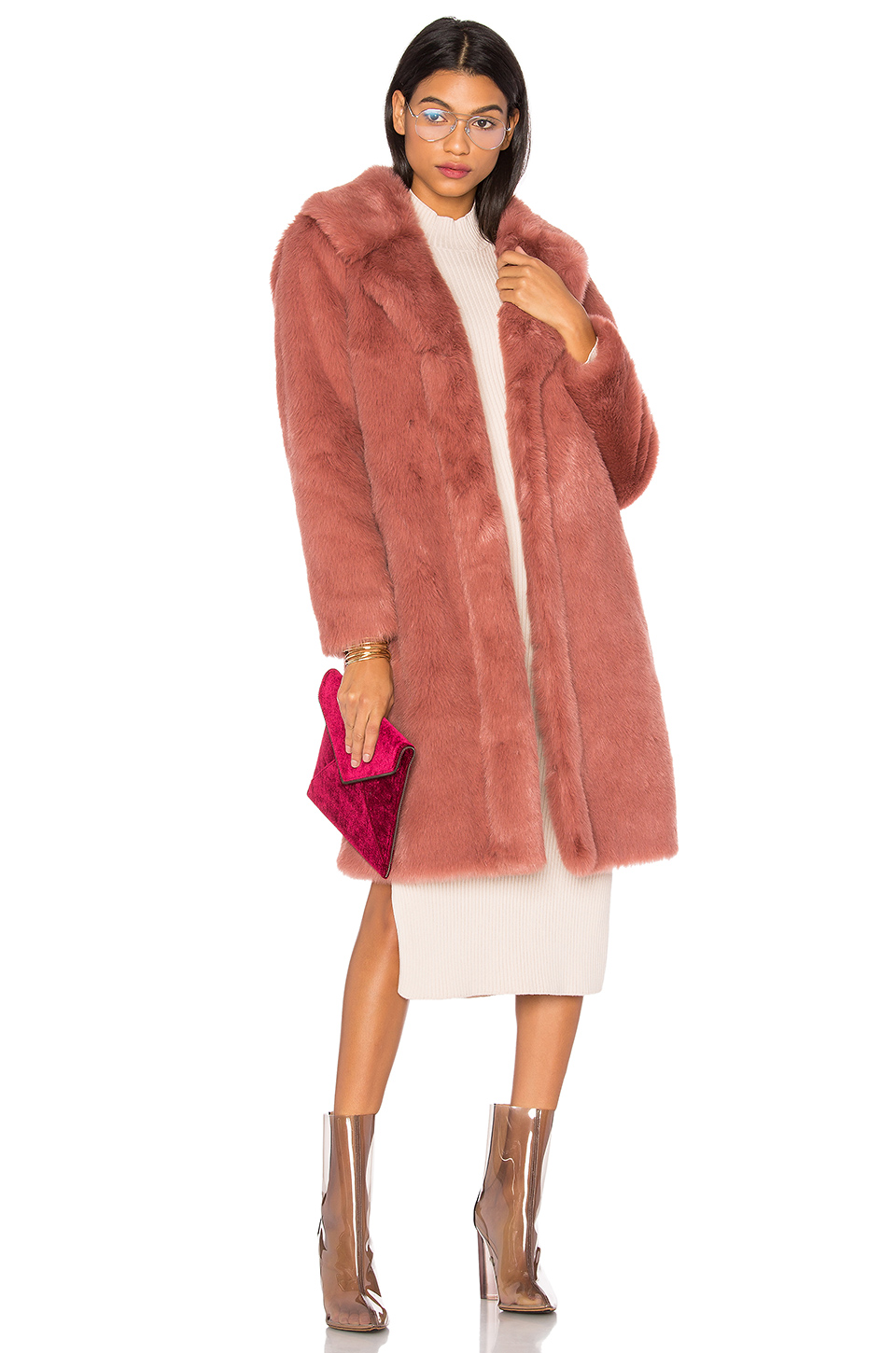 white-dress-bodycon-sweater-pink-bag-clutch-clear-shoe-booties-pink-light-jacket-coat-fur-fuzz-fall-winter-blonde-dinner.jpg