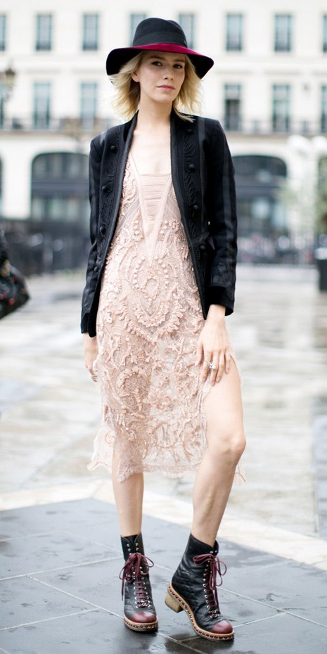 white-dress-bodycon-lace-sheer-hat-black-jacket-blazer-black-shoe-booties-fall-winter-blonde-lunch.jpg