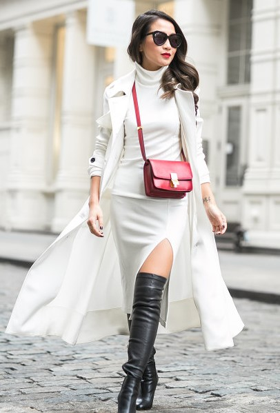 white-dress-bodycon-black-shoe-boots-otk-red-bag-brun-sun-white-jacket-coat-trench-fall-winter-lunch.jpg