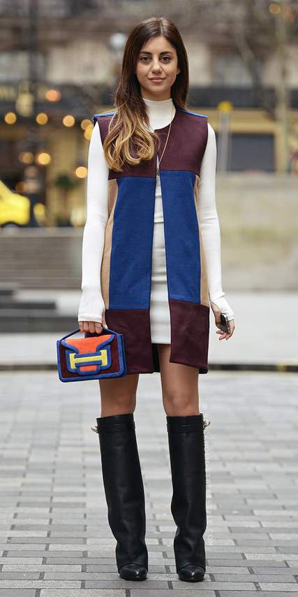 white-dress-sweater-bodycon-turtleneck-hairr-blue-navy-vest-tailor-burgundy-vest-tailor-orange-bag-colorblock-black-shoe-boots-fall-winter-dinner.jpg