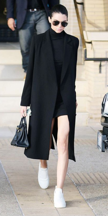 black-dress-bodycon-black-jacket-coat-sun-bun-white-shoe-sneakers-black-bag-kendalljenner-howtowear-fashion-style-outfit-spring-summer-brun-lunch.jpg