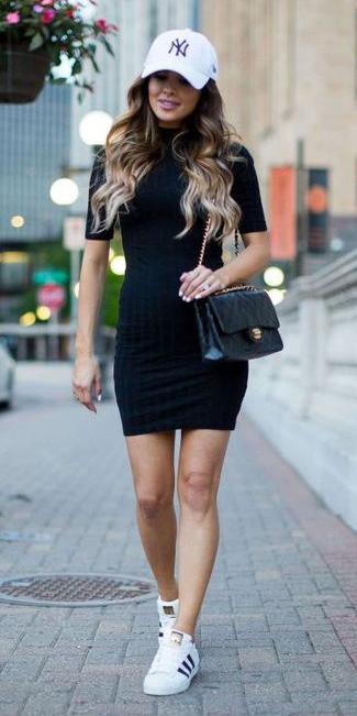 black-dress-bodycon-casual-hat-cap-black-bag-white-shoe-sneakers-adidas-spring-summer-hairr-weekend.jpg