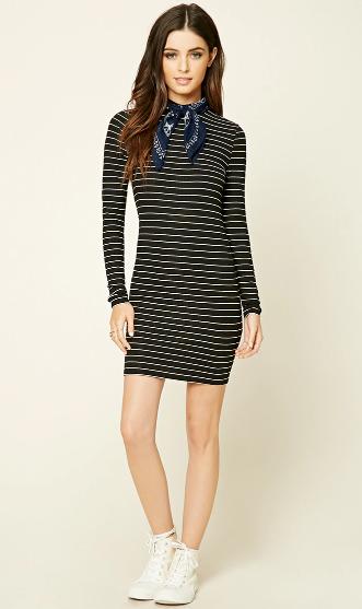 black-dress-zprint-stripe-white-shoe-sneakers-blue-navy-scarf-neck-howtowear-fashion-style-outfit-fall-winter-bodycon-bandana-brunette-weekend.jpg