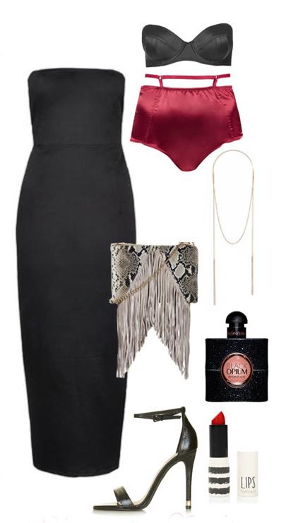 black-dress-bodycon-gray-bag-snakeskin-lingerie-strapless-choker-black-shoe-sandalh-howtowear-valentinesday-outfit-fall-winter-dinner.jpg