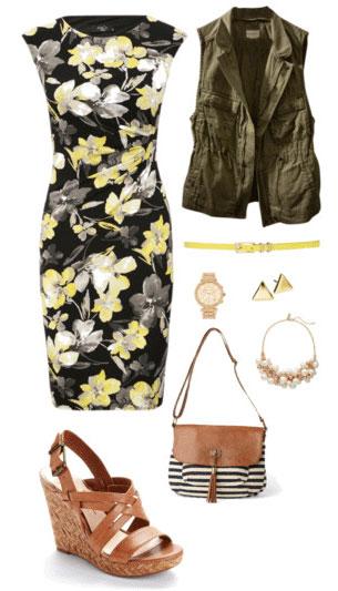 black-dress-floral-print-bodycon-cognac-shoe-sandalw-cognac-bag-watch-skinny-belt-bib-necklace-pearl-green-olive-vest-utility-spring-summer-lunch.jpg