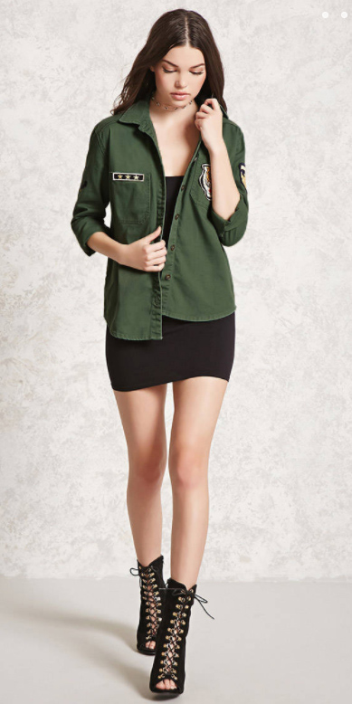 black-dress-bodycon-green-olive-collared-shirt-black-shoe-sandalh-fall-winter-brun-lunch.jpg