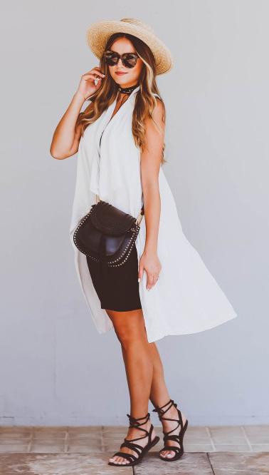 black-dress-white-vest-drape-bodycon-sun-choker-black-bag-black-shoe-sandals-hat-howtowear-fashion-style-spring-summer-outfit-hairr-lunch.jpg