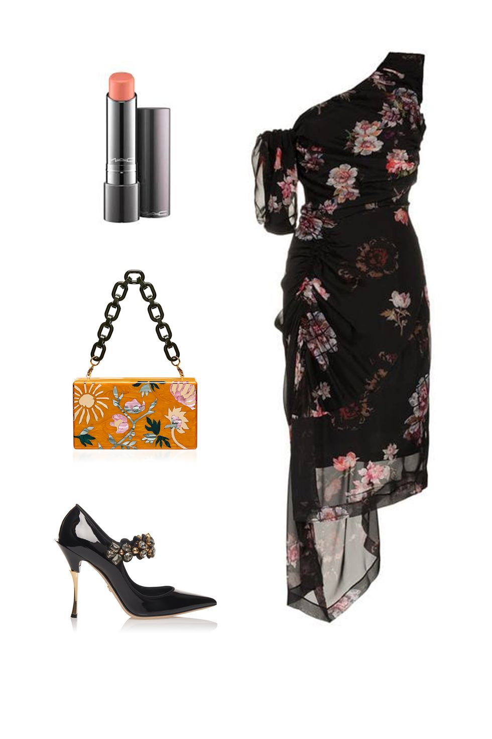 what-to-wear-for-a-fall-wedding-guest-outfit-autumn-secret-garden-black-dress-bodycon-oneshoulder-floral-print-yellow-bag-black-shoe-pumps-dinner.jpg