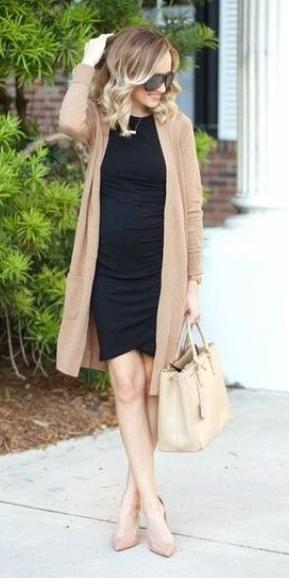 black-dress-bodycon-tan-cardiganl-blonde-tan-bag-tote-tan-shoe-pumps-spring-summer-work.jpg