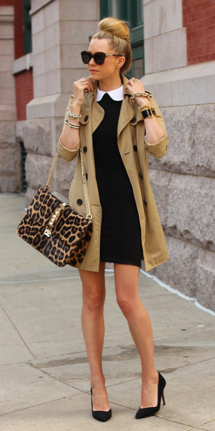 black-dress-bodycon-bun-sun-brown-bag-leopard-print-black-shoe-pumps-trench-tan-jacket-coat-spring-summer-blonde-lunch.jpg