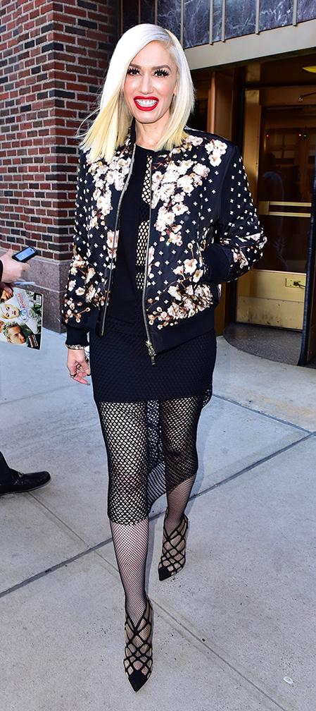 black-dress-black-jacket-bomber-floral-print-tights-mesh-black-shoe-pumps-bodycon-gwenstefani-fall-winter-blonde-dinner.jpg