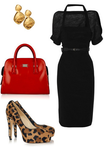 black-dress-a-tan-shoe-pumps-red-bag-hand-black-belt-skinny-howtowear-fashion-style-outfit-fall-winter-basic-earrings-leopard-bodycon-dinner.jpg