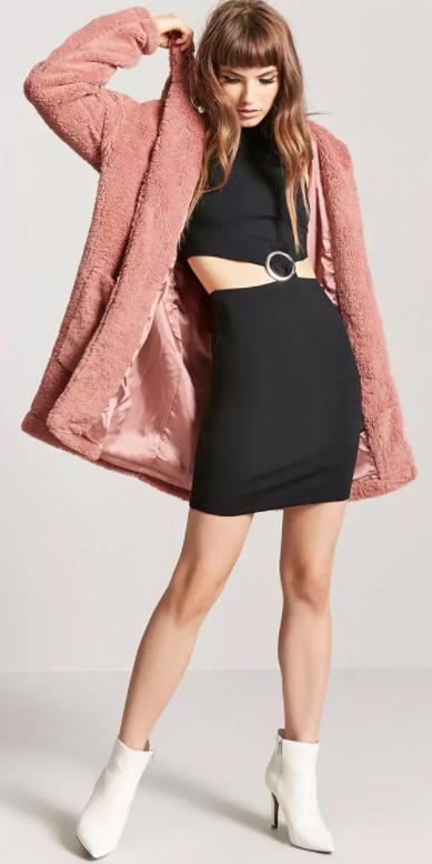 black-dress-bodycon-cutout-white-shoe-booties-pink-light-jacket-coat-fur-fuzz-fall-winter-hairr-dinner.jpg