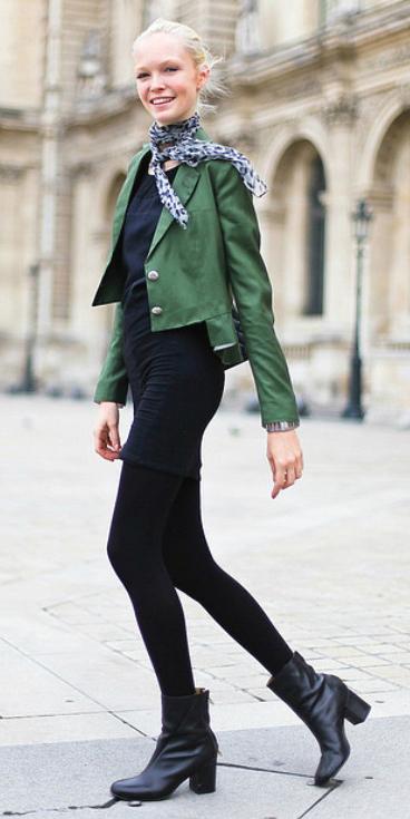 black-dress-green-olive-jacket-crop-blue-scarf-neck-black-shoe-booties-black-tights-bun-bodycon-wear-style-fashion-fall-winter-street-blonde-work.jpg