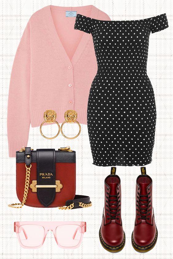 black-dress-bodycon-offshoulder-dot-print-pink-light-cardigan-red-shoe-booties-earrings-red-bag-spring-summer-lunch.jpg