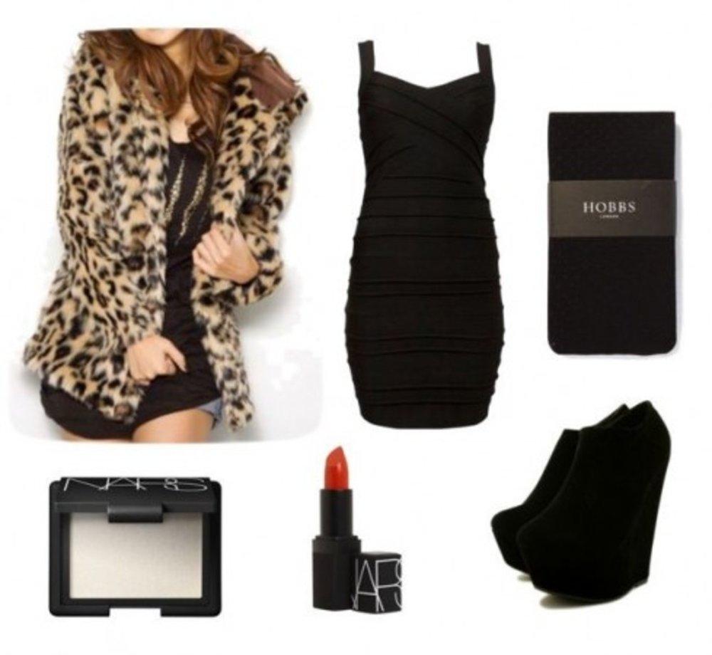 black-dress-bodycon-black-tights-black-shoe-booties-leopard-print-tan-jacket-coat-fur-fuzz-fall-winter-dinner.jpg