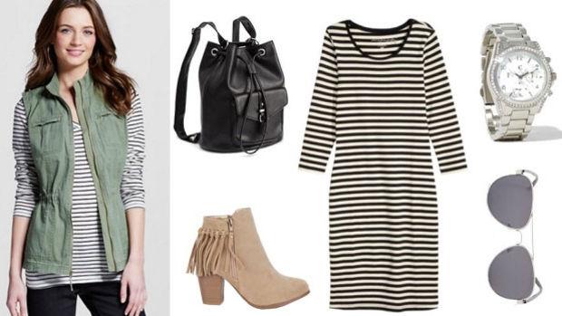 black-dress-zprint-stripe-green-olive-vest-trench-tan-shoe-booties-black-bag-pack-tshirt-summer-stripe-bodycon-sun-watch-lunch.jpg