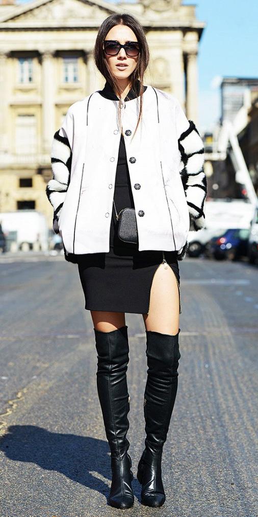 how-to-style-black-dress-bodycon-white-jacket-bomber-oversized-hairr-sun-black-shoe-boots-otk-fall-winter-fashion-lunch.jpg