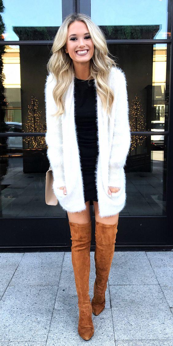 black-dress-mini-bodycon-white-cardiganl-blonde-tan-bag-cognac-shoe-boots-otk-fall-winter-dinner.jpg