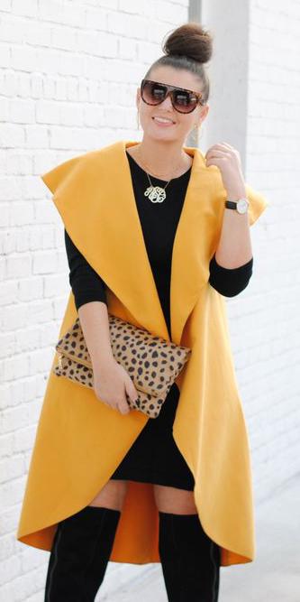 black-dress-bodycon-tshirt-necklace-brun-bun-sun-tan-bag-clutch-black-shoe-boots-otk-yellow-vest-knit-fall-winter-dinner.jpg