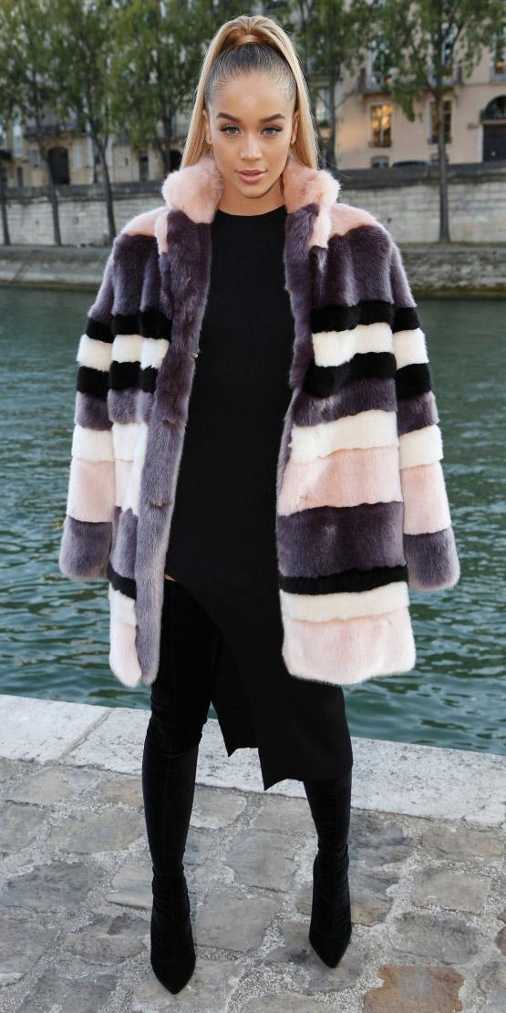 black-dress-bodycon-pony-black-shoe-boots-otk-pink-light-jacket-coat-fur-fuzz-fall-winter-blonde-dinner.jpg
