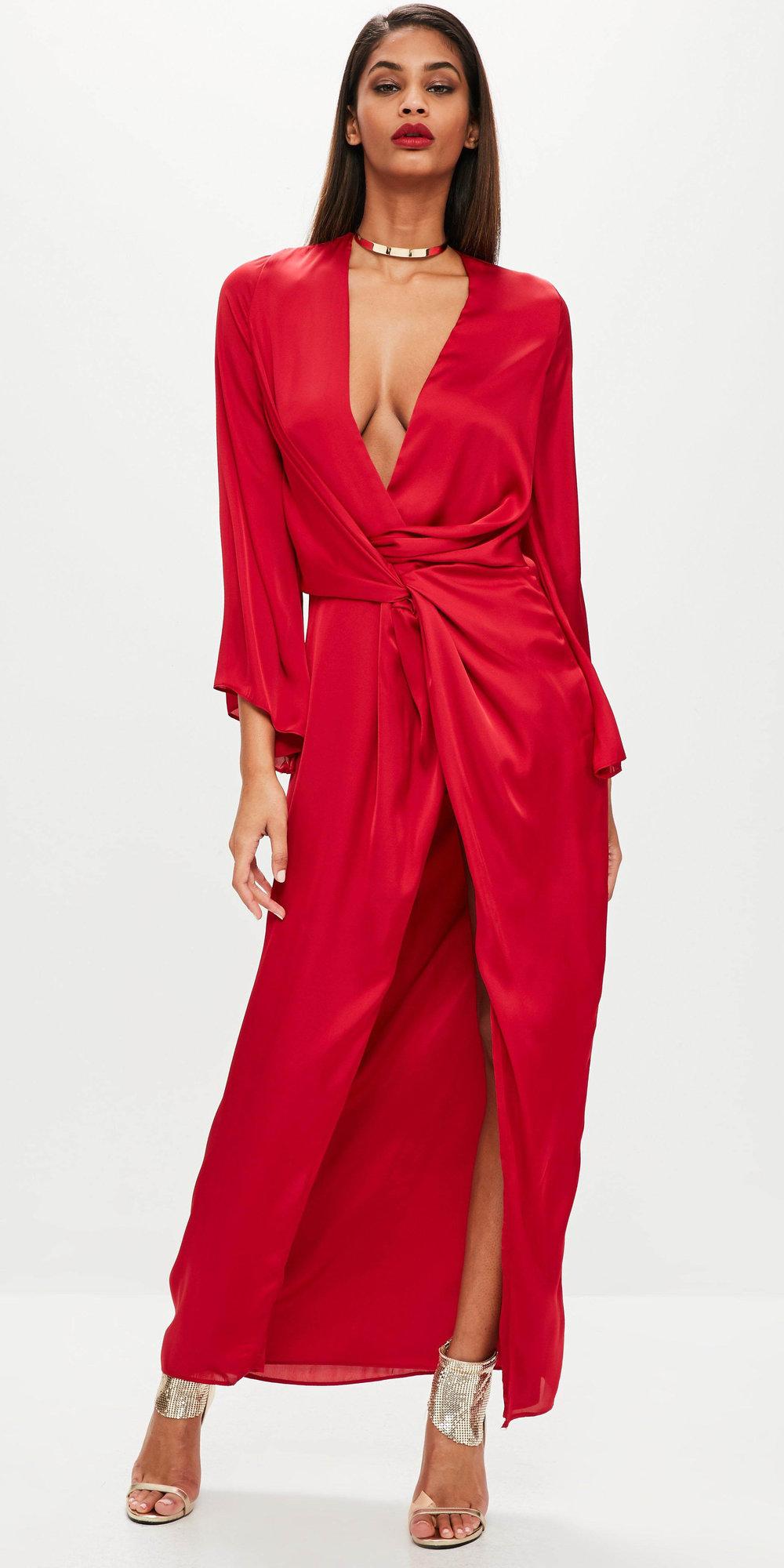 95506695b42 red-dress-maxi-wrap-tan-shoe-sandalh-collar-