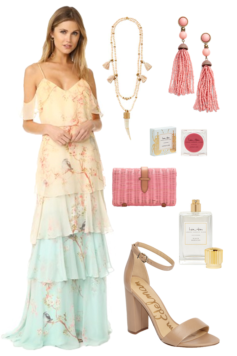 what-to-wear-for-a-spring-wedding-guest-outfit-yellow-dress-maxi-peasant-offshoulder-tan-shoe-sandalh-earrings-pink-bag-necklace-dinner.jpg