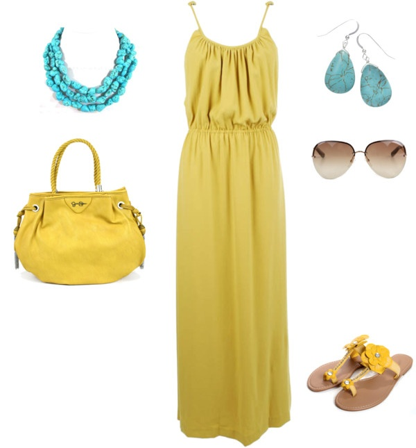 yellow-dress-maxi-necklace-turquoise-earrings-sun-yellow-shoe-sandals-yellow-bag-howtowear-fashion-style-outfit-spring-summer-lunch.jpg